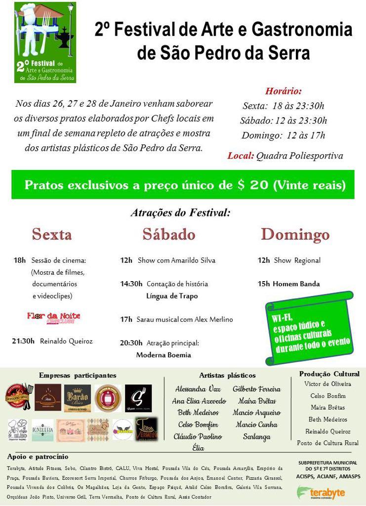 Programação do 2º Festival de Arte e Gastronomia de São Pedro da Serra