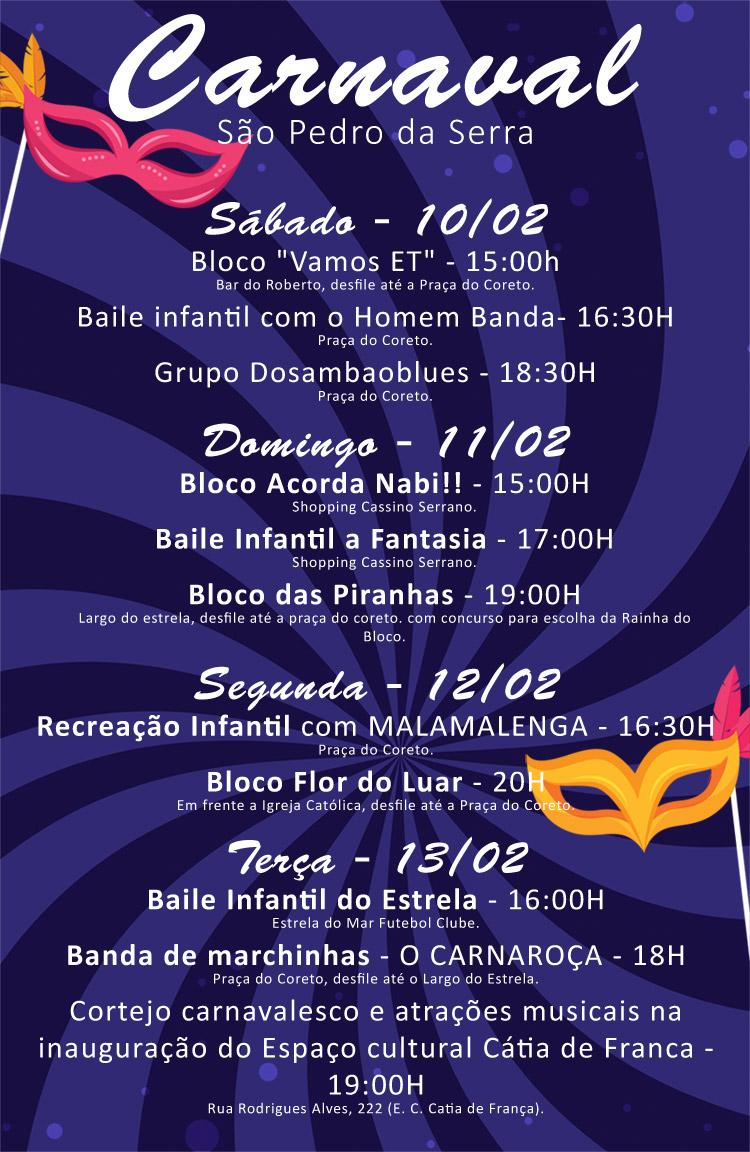 Programação completa do Carnaval de São Pedro da Serra, Nova Friburgo, Rio de Janeiro, Brasil