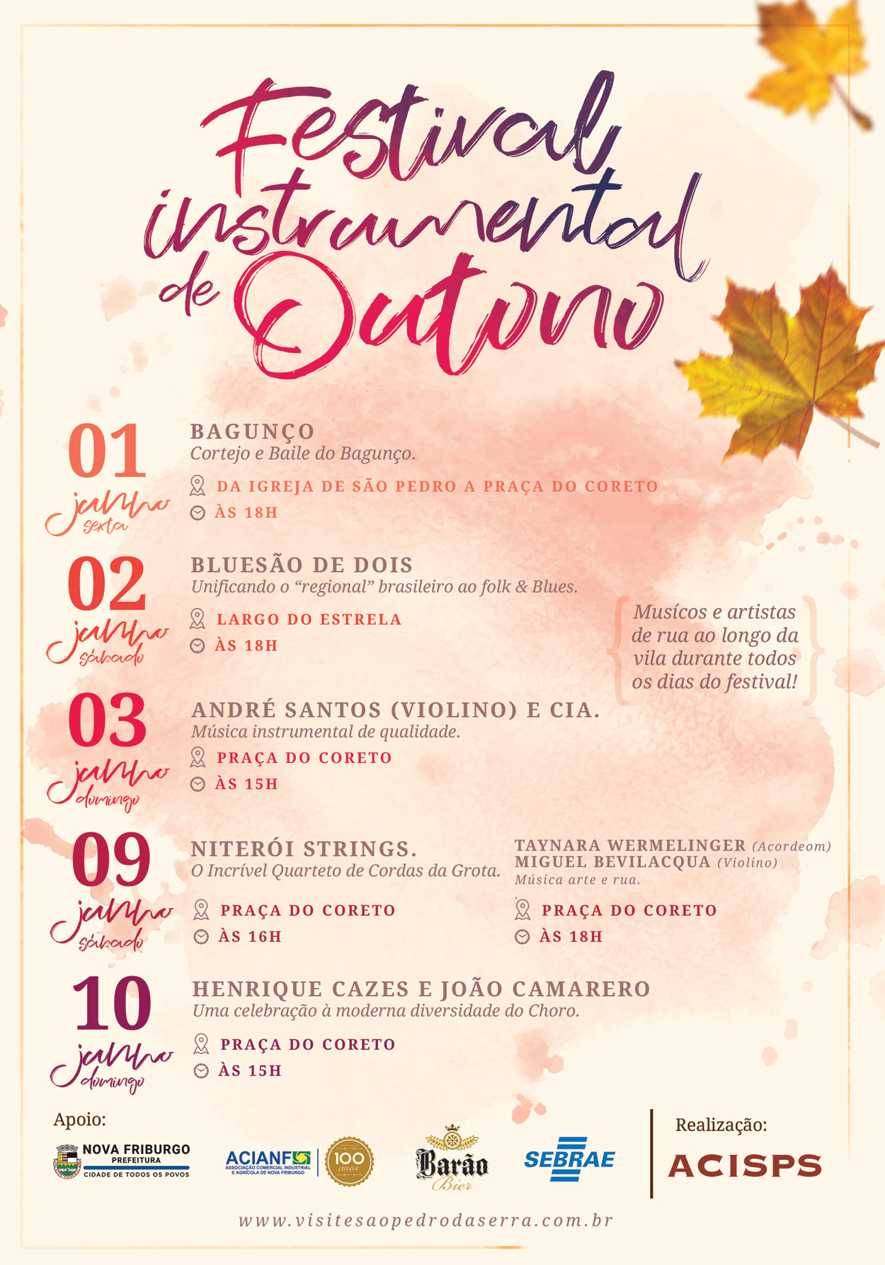 Programação do Festival Instrumental de Outono em São Pedro da Serra