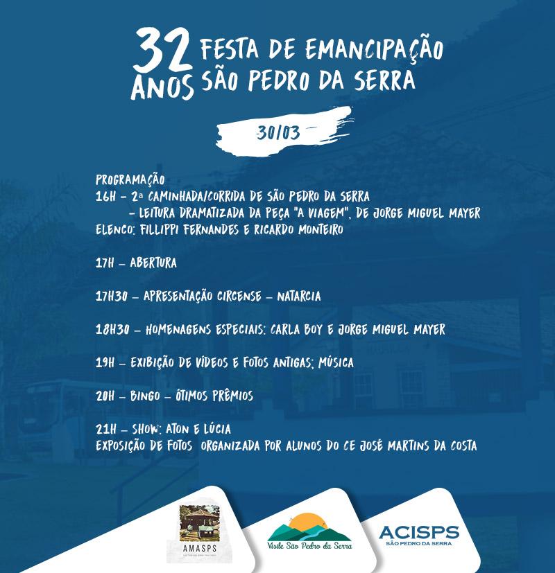 32 anos de emancipação de São Pedro da Serra